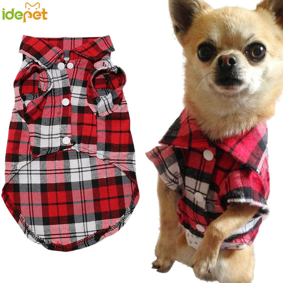 Pet Dog Clothes for Dog Soft Summer Plaid Dog Vest Clothes For Small Dogs Chihuahua Cotton Puppy Shirts T shirt Cat Vests 30