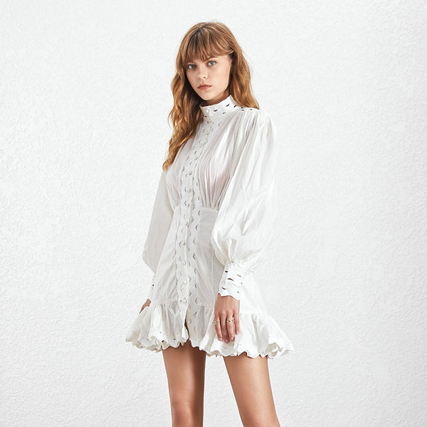 Embroidered Ruffle Lantern Sleeve Dress