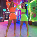 Reflective Neon Skirt & Top Set