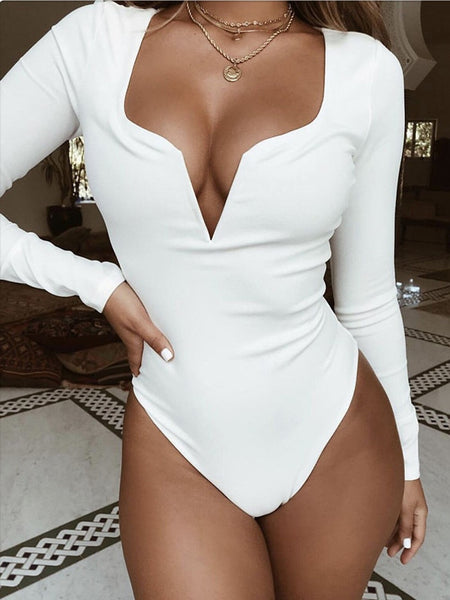 Plunging Neck Long Sleeve Bodysuit