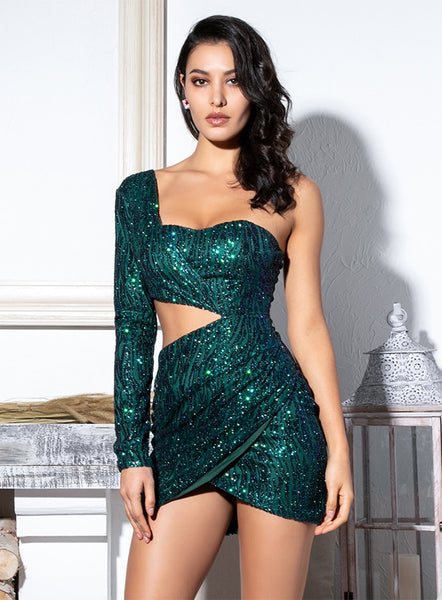 Glitter One Shoulder Party Dress