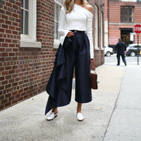 Ruffle Wide Leg High-Waist Trousers