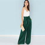 Pleated Wide Leg High-Waist Trousers