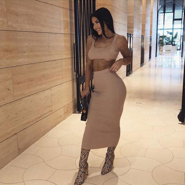 Ribbed Top & Skirt Two-Piece Set