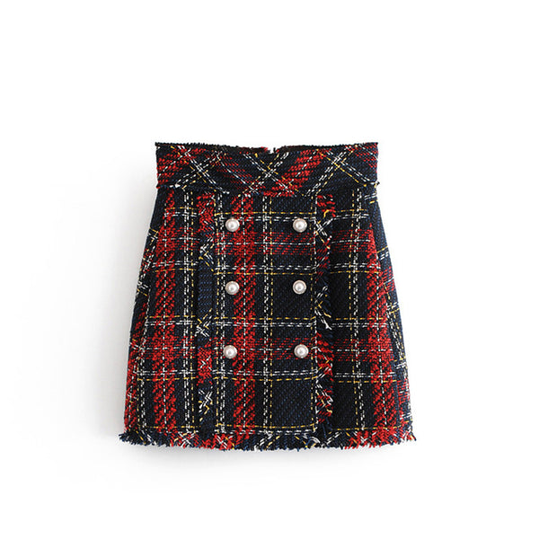 Tweed Plaid Mini Skirt