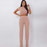 Ribbed Crop Top Two-Piece Set
