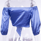 Satin Knotted Front Blouse