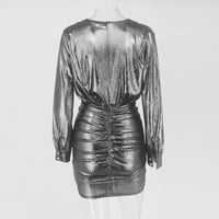 Ruched Waist Metallic Mini Dress