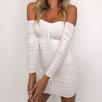 Ruched Off-Shoulders Bodycon Dress