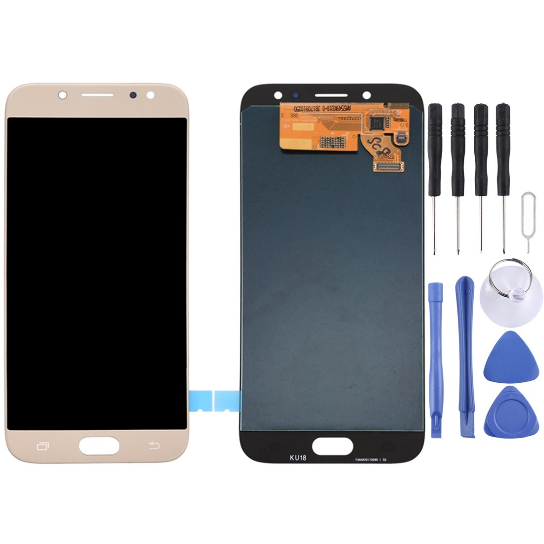 LCD Screen and Digitizer Full Assembly for Galaxy J7 (2017), J730F/DS,  J730FM/DS(Gold)