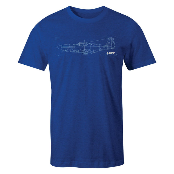 LIFT Aviation - Mustang Tee - Heather Blue