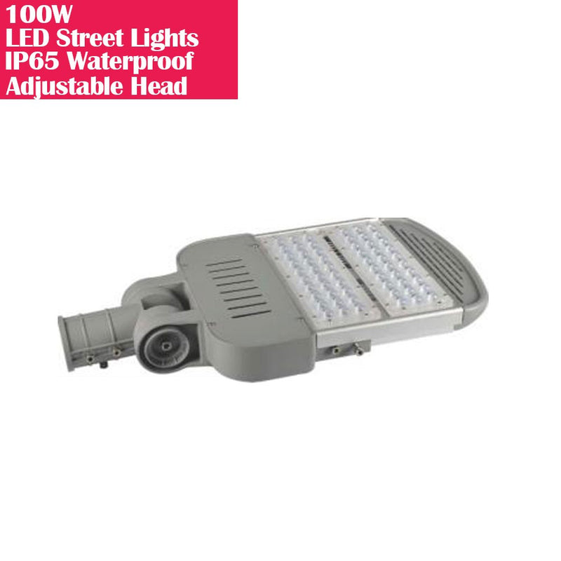 100W IP65 Waterproof Adjustable Head LED Street Lights Modular LED Pole Light Outdoor 120LM/W CRI80+ Warm White 3000K