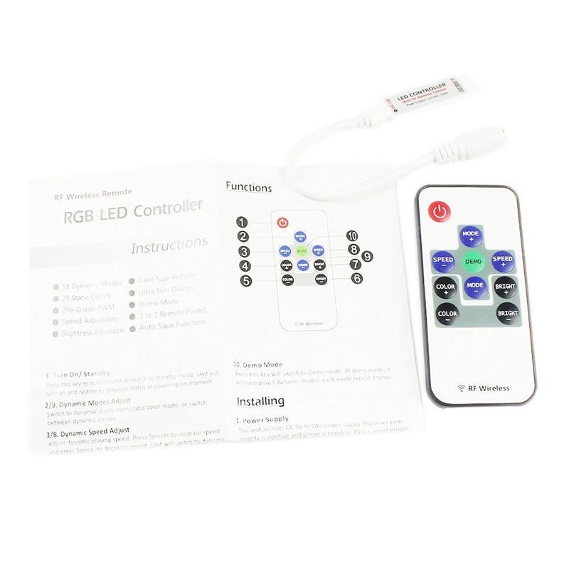 RF Wireless Mini LED Controller with 10-key Remote 5V-24V 12A / 3 Channels for RGB/GRB LED Strip SMD5050 SMD3528 Color Changing
