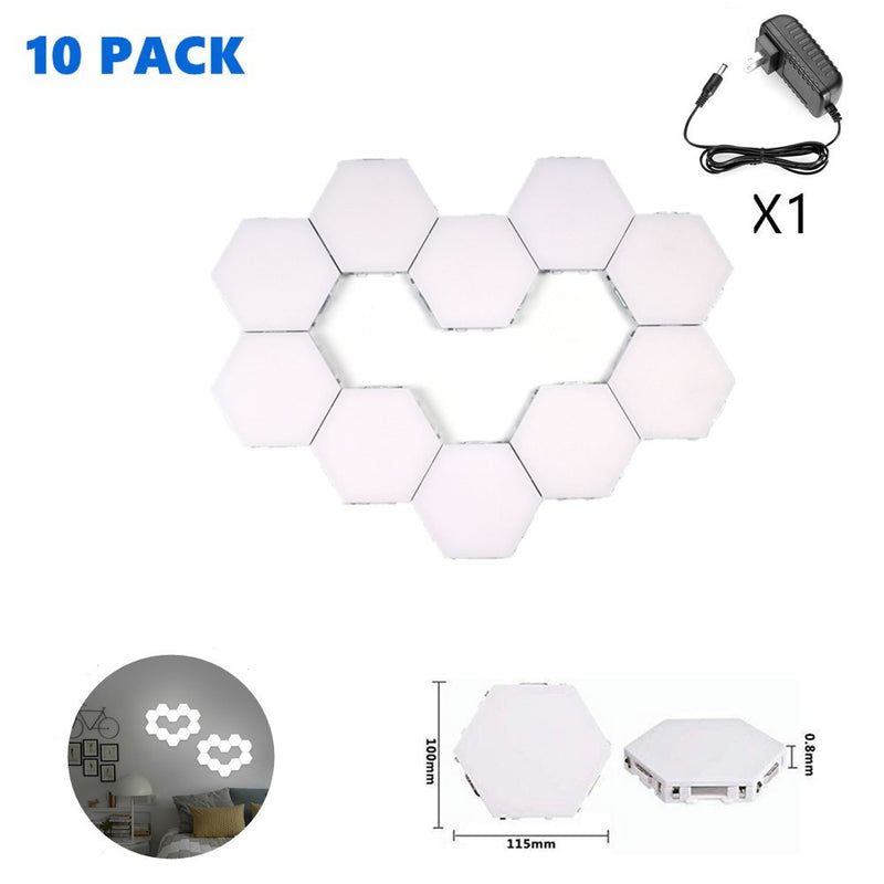 Free Shipping 10 Pack Hexagonal LED Wall Light, DIY Modular Touch Sensitive Lights LED Night Light for Home Decor, Gifts