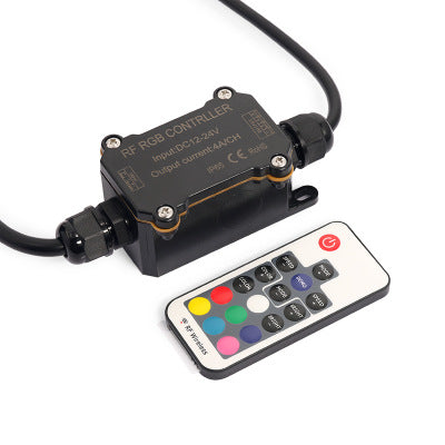 DC 12V-24V RF163 IP65 Waterproof Wireless RGB Controller with Mini RF Wirelless 17keys Remote Controller for SMD5050 3528 RGB LED Strip Lights