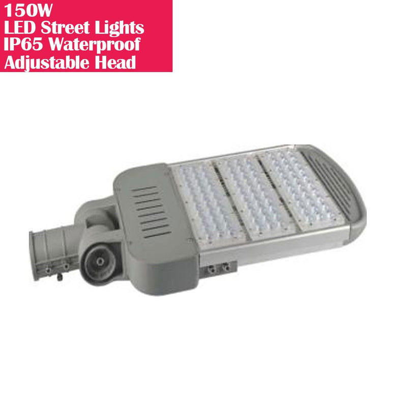 150W IP65 Waterproof Adjustable Head LED Street Lights Modular LED Pole Light Outdoor 120LM/W CRI80+ Pure White 6500K