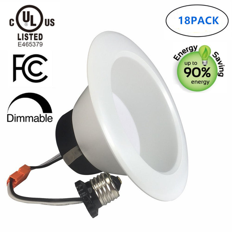 Free Shipping 18 Pack UL CUL Listed Dimmable 6 Inch 120V AC 17W 1400 Lumen ( 90W Equivalent) Recessed LED Retrofit Downlight Kit