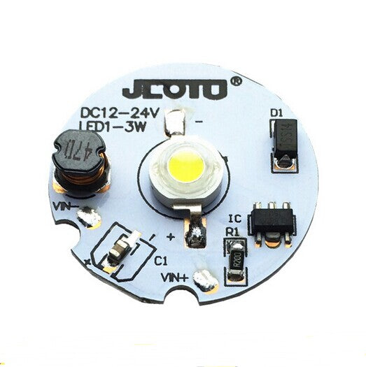 1W 3W DC12V-DC24V LED PCB Component 30mm Wide Round Board