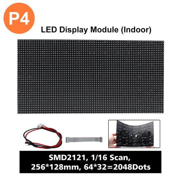 (P4)LED Matrix Module, Full RGB Digital Pixel Panel Screen in 256 * 128 mm with 2048 dots, 1/16 Scan, 800 Nits for Indoor Display