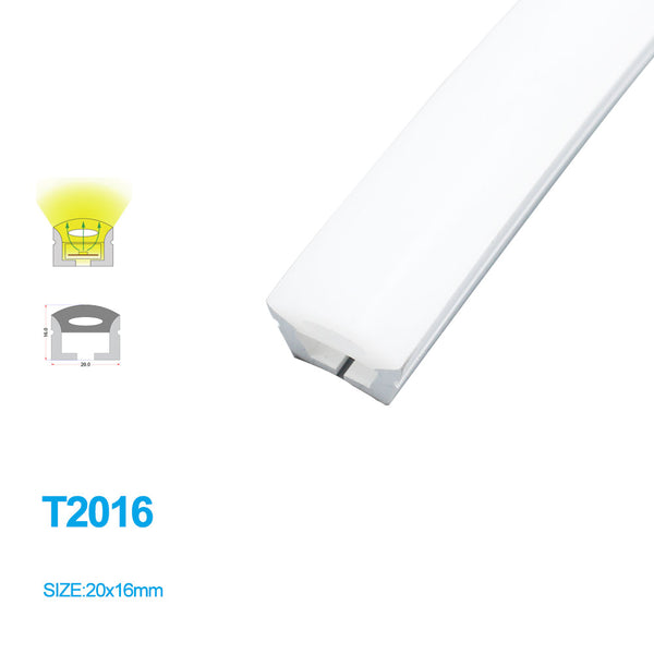 1M/5M/10M/20M  Pack of T2016 LED Neon Light Housing Kit with End Caps and Mounting Clips, Flexible Neon Channel Fit for 10mm Wide LED Strip Lights