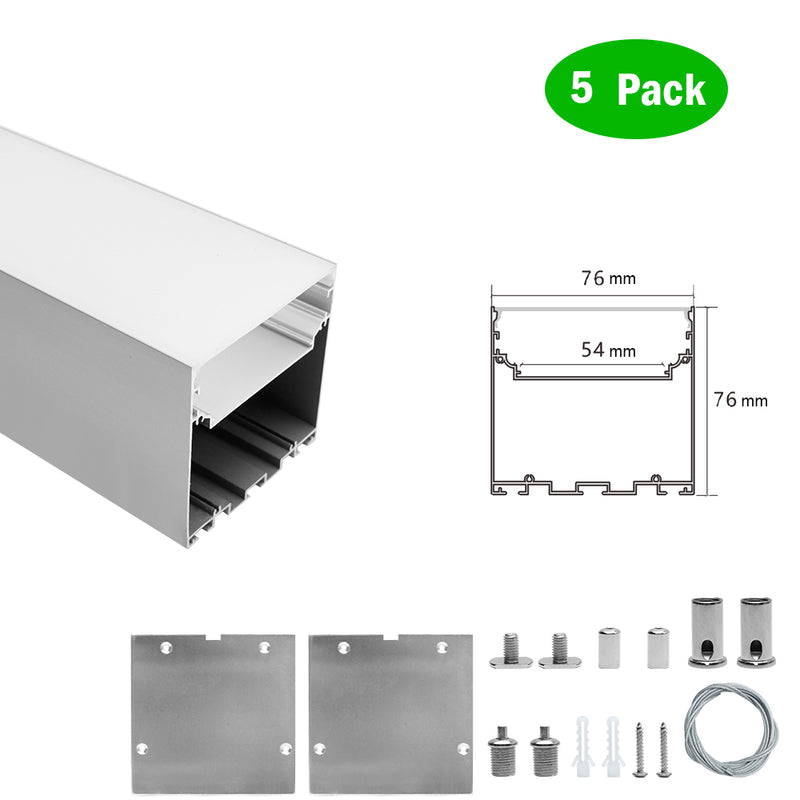 5 Pack H7676 Big Aluminum Extrusion Channel for Pendant Mounting Linear Office Lighting System