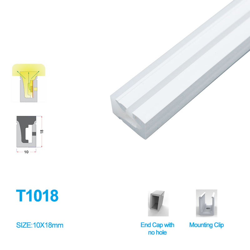 1M/5M/10M/20M  Pack of T1018 LED Neon Light Housing Kit with End Caps and Mounting Clips, Flexible Neon Channel Fit for 10mm Wide LED Strip Lights