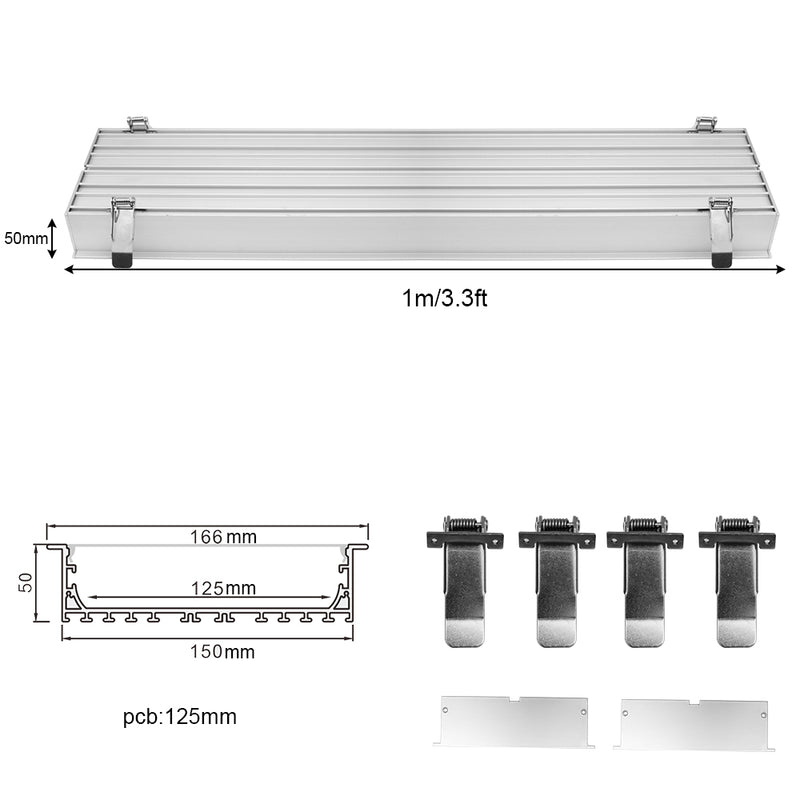 2 Pack H15050 Big Aluminum Extrusion Channel for Flush Mounting Linear Office Lighting System
