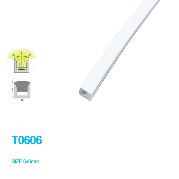 1M/5M/10M/20M  Pack of T0606 LED Neon Light Housing Kit with End Caps and Mounting Clips, Flexible Neon Channel Fit for 3mm Wide LED Strip Lights