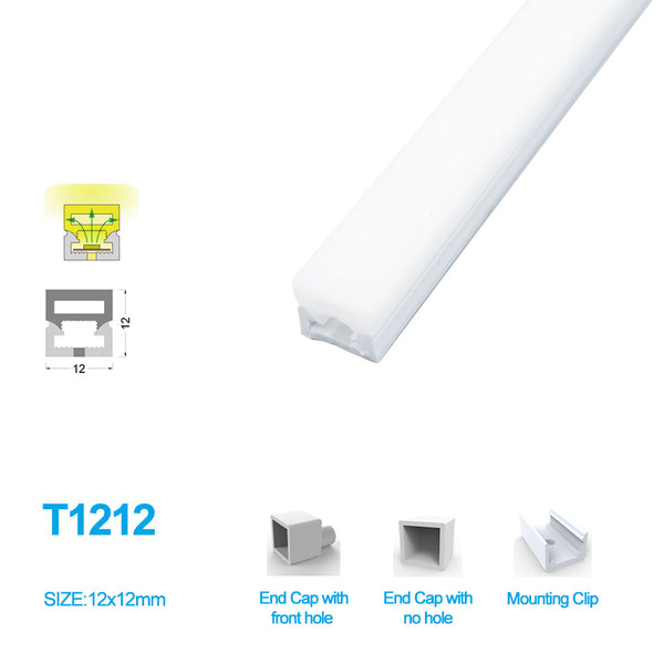 1M/5M/10M/20M Pack of  T1212 3 Sides Postive Lighting LED Neon Light Housing Kit with End Caps and Mounting Clips, Flexible Neon Channel Fit for 8mm Wide LED Strip Lights