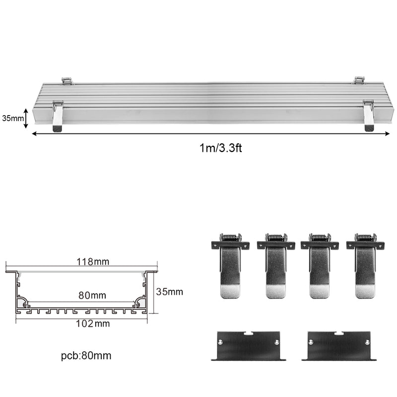 2 Pack H10235 Big Aluminum Extrusion Channel for Flush Mounting Linear Office Lighting System