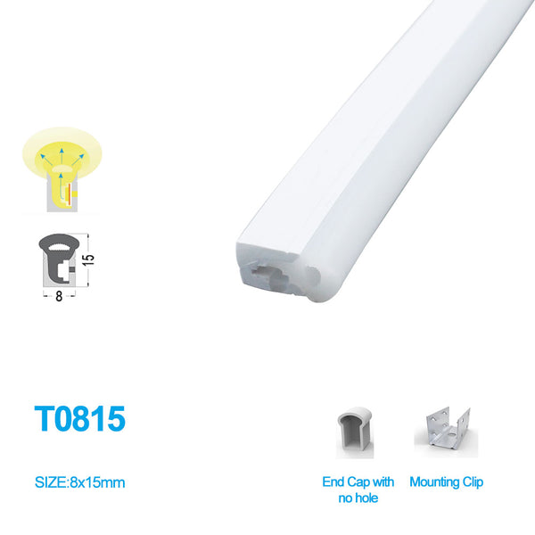 1M/5M/10M/20M  Pack of T0815 LED Neon Light Housing Kit with End Caps and Mounting Clips, Flexible Neon Channel Fit for 5mm Wide LED Strip Lights