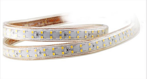 AC 110V / 220V SMD2835 High Voltage Flat Strip Light 180 LEDs Per Meter Double Row with the power plug