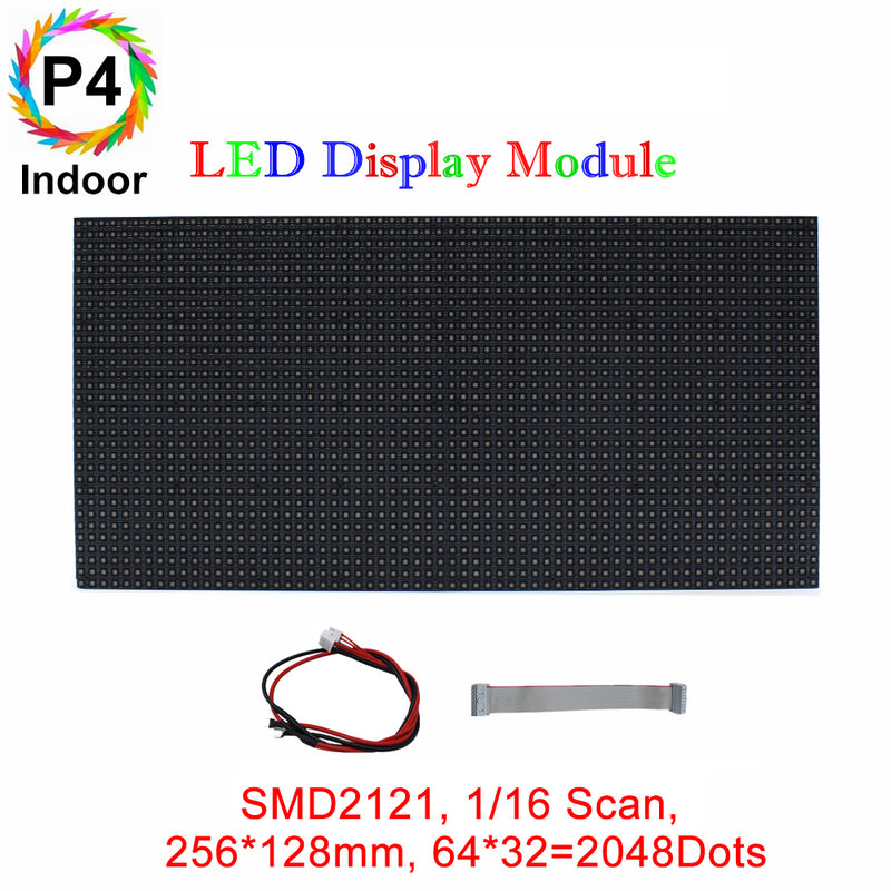 M-ID4 P4 Normal Indoor Series LED Module,Full RGB 4mm Pixel Pitch LED Display Tile in 256*128mm with 2048 dots, 1/16 Scan, 800 Nitsfor indoor Display