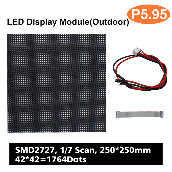 M-OD5.9 (P5.9) Rental Outdoor LED Module, Full RGB 5.95mm Pixel Pitch LED Tile in 250 * 250mm with 1764 dots, 1/7 Scan, 5000 Nits For Outdoor Display