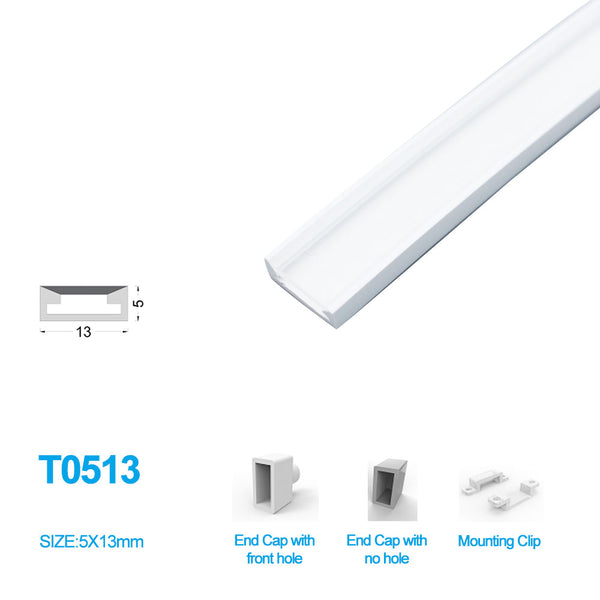 1M/5M/10M/20M  Pack of T0513 LED Neon Light Housing Kit with End Caps and Mounting Clips, Flexible Neon Channel Fit for 10mm Wide LED Strip Lights