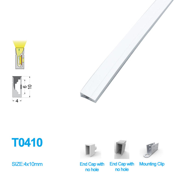 1M/5M/10M/20M  Pack of T0410 LED Neon Light Housing Kit with End Caps and Mounting Clips, Flexible Neon Channel Fit for 5mm Wide LED Strip Lights