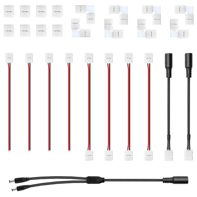 LED Strip Connector Kit for 2Pin 8/10MM, Includes 6 Different Kinds of Connectors, Cover Most of The Needs in LED Strip Light DIY Connecting Project