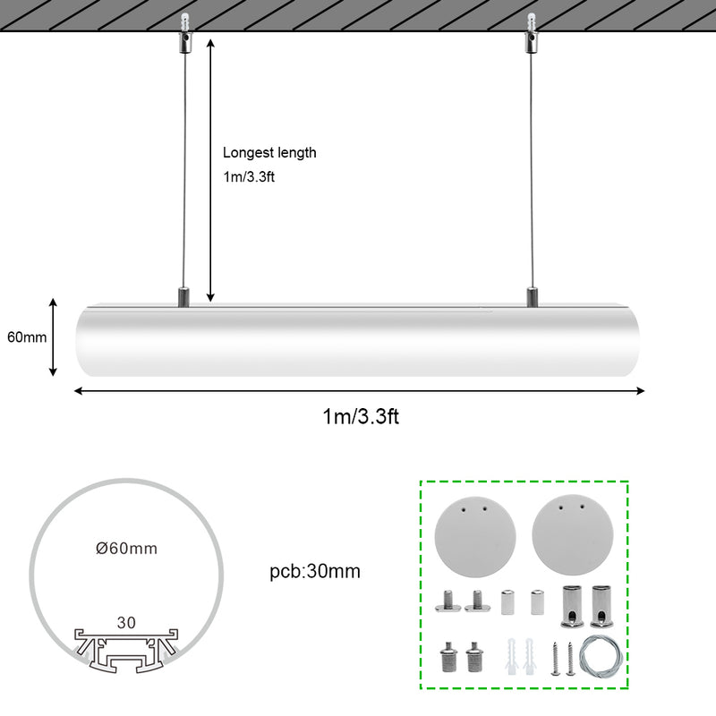 5 Pack D60 60mm Dia. Round Extruded Aluminum Channel for Pendant Linear Office Lighting System
