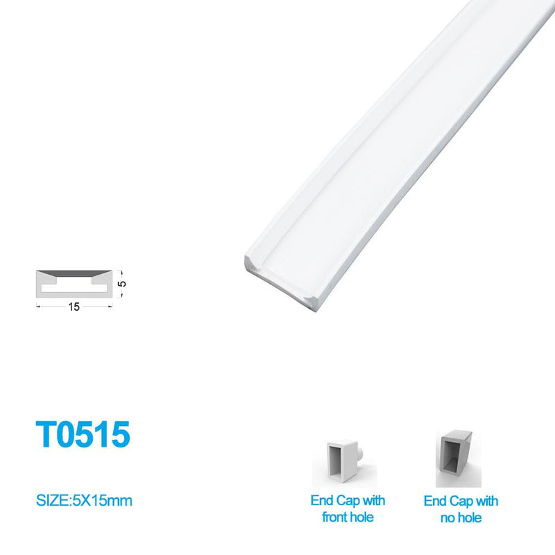 1M/5M/10M/20M  Pack of T0515 LED Neon Light Housing Kit with End Caps and Mounting Clips, Flexible Neon Channel Fit for 12mm Wide LED Strip Lights