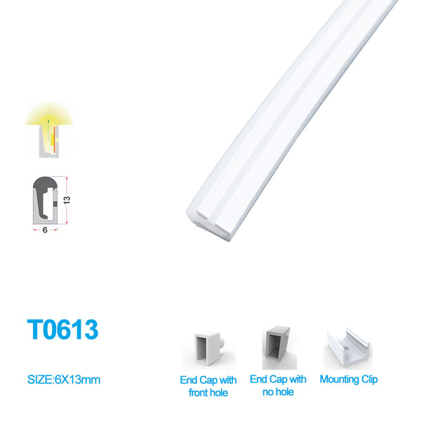 1M/5M/10M/20M  Pack of T0613 Edge Lighting LED Neon Light Housing Kit with End Caps and Mounting Clips, Flexible Neon Channel Fit for 8mm Wide LED Strip Lights