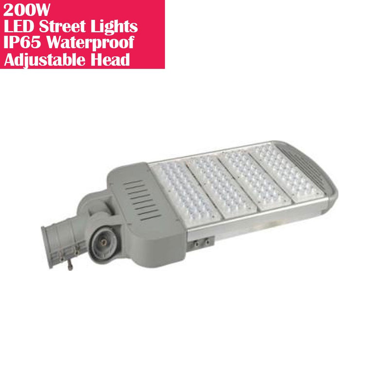 200W IP65 Waterproof Adjustable Head LED Street Lights Modular LED Pole Light Outdoor 120LM/W CRI80+ Pure White 6500K