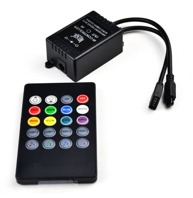 Sound/Music Sensitive RGB LED Controller DC12-24V 6A with Wirelless 20keys IR Remote for SMD5050 3528 RGB LED Strip Lights