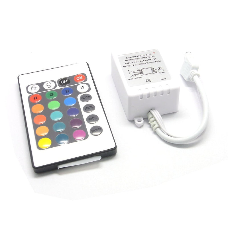 24Key IR Remote Controller for RGB LED Strip Lights 4-pin DC12V-24V LED Strip Controller
