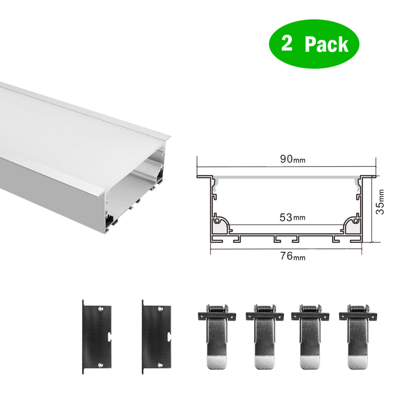 2 Pack H7635A Big Aluminum Extrusion Channel for Flush Mounting Linear Office Lighting System