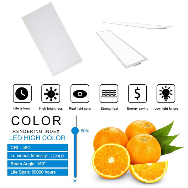 1'x2' (295x595 mm) 24 Watt LED Panel Light in 0.39'' (10mm) Thick White Trim Flat Sheet Panel Lighting Board Super Bright Ultra Thin Glare-Free