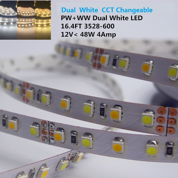 12VDC SMD3528-600-PWW Dual White Color Temp-Adjustable Flexible LED Strip Light 120 LEDs Per Meter