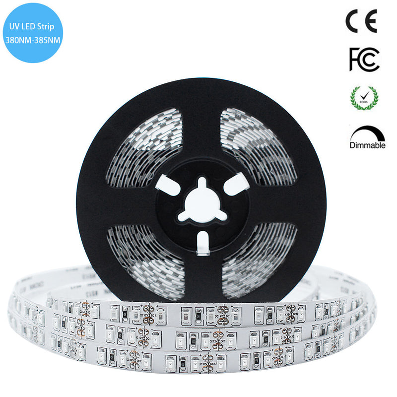 380nm 385nm SMD3528-600 12V 4A 48W UV LED Strip Light for UV Curing, Currency Validation