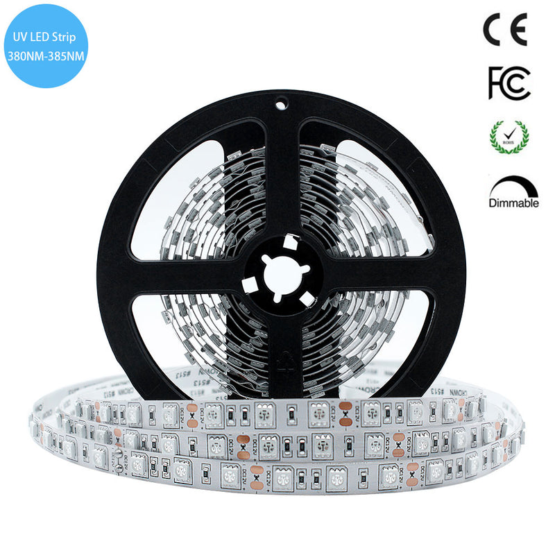 380nm 385nm SMD5050-300 12V 6A 72W UV LED Strip Light for UV Curing Currency Validation