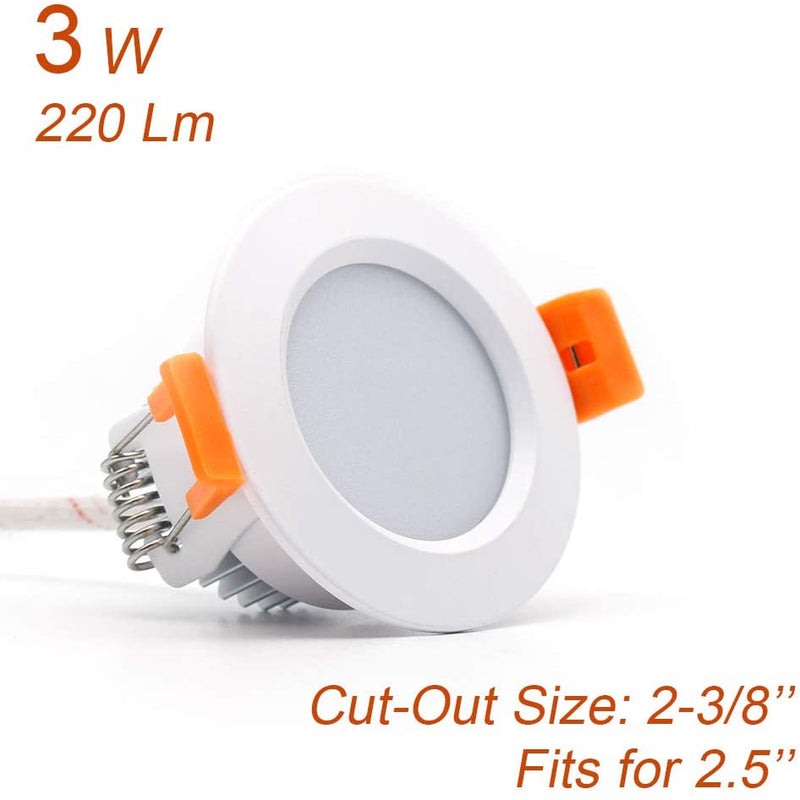 10 Pack 3W Dimmable Antifog LED Downlight CRI80 Flat Diffuser Ceiling Light -2-3/8'' Cutout