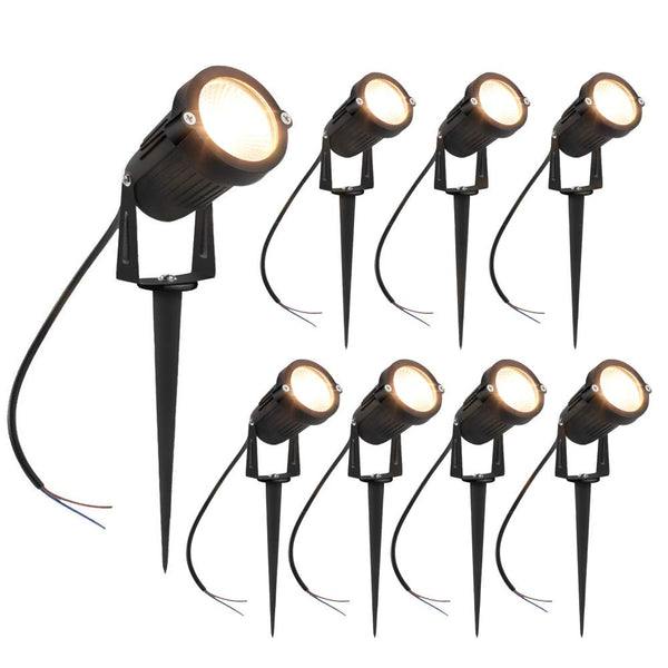 8 Pack 3W LED Landscape Lights Warm White 12V Waterproof Garden Pathway Lights Outdoor Spotlights